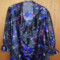 SATIN AND FLOWERS BLOUSE