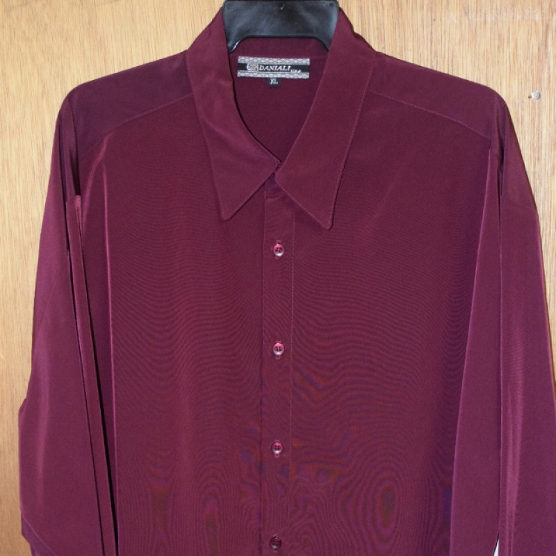 Mens Pink Dress Shirt With White Collar