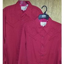RED SHIRT WITH STITCH DETAIL