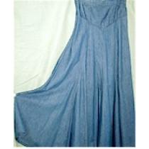 Long V Front Denim Skirt